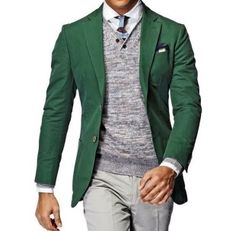 Men Green Blazer - Pop of Color