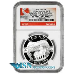 2014 Canada $25 Silver Cowboy In The Canadian Rocky Mtns NGC PF70 UC ER   The arresting design presents a Canadian cowboy on horseback, leading a second horse through the Canadian Rockies. In the central foreground of the image, a cowboy on horseback, fully outfitted in cowboy hat, shirt, and breeches, sits in the saddle on his mount as he holds in his right hand the reins of a second horse that is fully loaded for a back-country packing adventure. Visit www.isnmoderncoins.com/33757