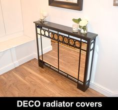Mirror radiator covers and mirror cabinets I Custom Designs Mirror Radiator Cover, Metal Radiator Covers, Art Deco Wall Art, Art Deco Mirror, Hallway Mirror, Hallway Art, Home Radiators, Mirror Cabinets, Art Deco Furniture