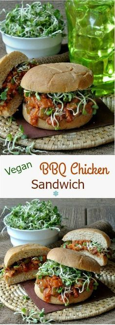 Vegan BBQ Chicken Sandwich is easily made from scratch. A fabulous plant based sandwich with a homemade tangy barbeque sauce. Go ahead and enjoy. Vegan Sandwich Recipes, Vegan Dinner Recipes, Delicious Vegan Recipes, Dairy Free Recipes, Vegetarian Recipes, Healthy Recipes, Vegan Sandwiches, Sandwich Ideas, Burger Recipes