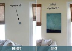Conceal a thermostat or security system by hanging a canvas wall art piece on hinges. 37 Ways To Disguise The Ugliest Parts Of Your Home Diy Home Security, Wireless Home Security Systems, Security Products, Life Hacks, Ideas Prácticas, Ideas Para, Decor Ideas, Diy Casa, Furniture Catalog