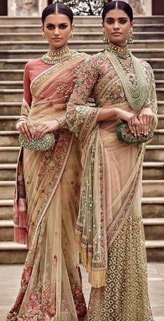 Sabyasachi Summer Campaign 2016 See through net sari with floral blouse Pakistani Dresses, Indian Sarees, Indian Dresses, Indian Outfits, Sabhyasachi Sarees, Sabyasachi Collection, Indian Couture, Indian Attire, Beautiful Saree