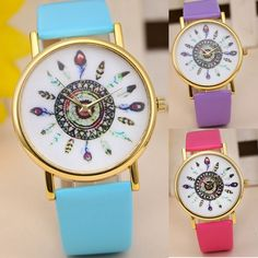 1.12$  Buy here - 2016! 11 Colors Original Women Genuine Leather Vintage Women Watches,Bracelet Wristwatches, Feather Dial watches Drop Shipping   #SHOPPING