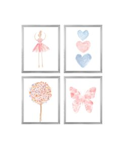 Blush and Blue Nursery Gallery Wall, Set of 4 Butterflies, Ballerina and Heart Prints Butterfly Nursery, Butterfly Wall Decor, Butterfly Print, Blush Nursery, Nursery Art, Coral Girls Rooms, Ballerina Art, Watercolor Heart, Flower Prints