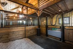 Sturdy stall dividers with open grill provide great ventilation, while also allowing your horses to socialize. Farm Animals Pictures, Horse Pictures, Bank Barn, Indoor Arena, Barn Siding, Horse Stalls, Horse Trailers, Carriage House, Horse Care