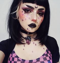Instagram @lou.von.bright | This goth makeup look will be sure to capture some attention. It is giving me all types of Sailor Moon negaverse vibes. It's alternative af!  #makeup #blacklipstick #goth #gothgirl #alternative  36 Black Lipstick Looks | How to wear black lipstick.
