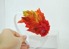 Autumn headband, fall headband, headband with flower and leaves, orange headband, white headband, headband for girl, halloween headband, by SpringFlowerBoutique on Etsy