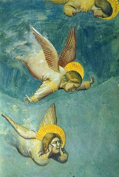 Giotto's Lamentation Angels, detail from a fresco in Padua. 1305