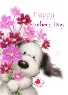 Cute little bear offering a huge bunch of flowers, Happy Mother's Day card. Personalize any greeting card for no additional cost! Cards are shipped the Next Business Day. Birthday Wishes For Friend, Happy Birthday Mom, Happy Birthday Greetings, Birthday Cards, Good Morning Prayer, Good Morning Love, Happy Mother's Day Card, Happy Mothers Day, Happy Birthday Gif Images
