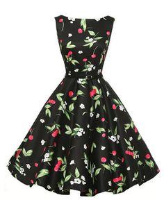#Banggood Старинные женщин цветочные напечатаны Хепберн ветер большой маятник платье (1118445) #SuperDeals