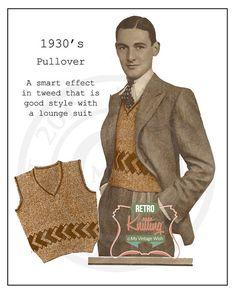 1930s Men's Pullover Vintage Knitting Pattern - PDF Instant Download