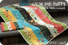 Moda Bake Shop: Home Decor.  Color Me Happy Table Runner.  Mix and Match