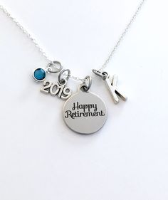 Retirement Jewelry, Women's Necklace, 2019 Gift for Best Friend Present silver her women woman men man Co-worker Co worker Coworker him 2020 by aJoyfulSurprise on Etsy Presents For Best Friends, Best Friend Gifts, Graduation Necklace, Happy Retirement, Personalized Charms, Birthstone Charms, Organza Gift Bags, Initial Charm, Laser Engraving