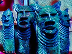 Ceramic sculpture by Gene Dodak. Photo by Charles Moniz www.genedodak.com #GeneDodak #clay #ceramic #CeramicArtist #ceramicart #sculpture #art #handbuilt #handmade #TribalHeads #Tiki #Totem #PalmSprings