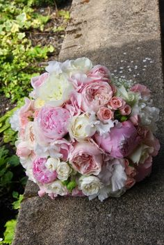 Bridal Bouquet included Pink Peonies, David Austin's Keira & Patience with Sweet Avalanche Roses, Pink Sweet Peas and some Ivory Snowflake Roses too