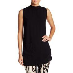 Bobeau Mock Neck Tunic Blouse ($30) ❤ liked on Polyvore featuring tops, blouses, black, bobeau, sleeveless tops, sleeveless tunic, mock neck top and bobeau tops