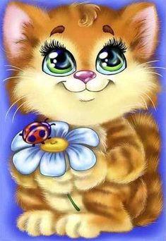 Illustration Mignonne, Cute Illustration, Kitten Cartoon, Cartoon Cartoon, Animals And Pets, Baby Animals, Cute Animals, Cartoon Mignon, Art Mignon