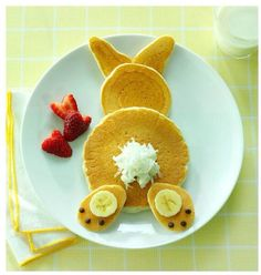 Bunny Pancakes - for Easter morning. Bunny Pancakes - for Easter morning. Hoppy Easter, Easter Eggs, Easter Hunt, Easter Food, Easter Decor, Easter Table, Easter Stuff, Easter Centerpiece, 2 Eggs