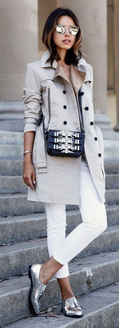 e0bad287611 trench coat + black and silver purse + white skinny jeans + silver loafers