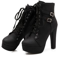 Susanny Women Autumn Round Toe Lace Up Ankle Buckle Chunky High Heel... ($26) ❤ liked on Polyvore featuring shoes, boots, ankle booties, lace up high heel booties, chunky-heel ankle boots, high heel booties, wide width ankle boots and platform booties