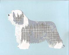 Bearded Collie     Canine Cut Ups, via Etsy.