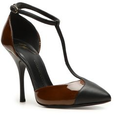 Giuseppe Zanotti Two-Tone T-Strap Pump - Brown/Black (19.200 RUB) ❤ liked on Polyvore featuring shoes, pumps, test category, pointed toe pumps, brown pumps, black ankle strap pumps, brown patent leather pumps and brown high heel pumps