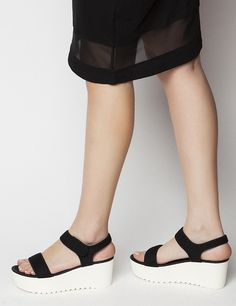 Jayden Black/White Pattern Platforms S/S 2015 #Fred #keepfred #shoes #collection #neoprene #fashion #style #new #women #trends #black #platfoms #wedges #white