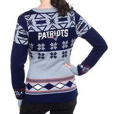 New England Patriots Womens Big Logo V-Neck Sweater