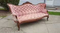 Antique Victorian Peach / Pink Velvet Couch/Sofa - Vintage Tufted Loveseat - French Provincial! Beautiful! Available for Custom Upholstery!