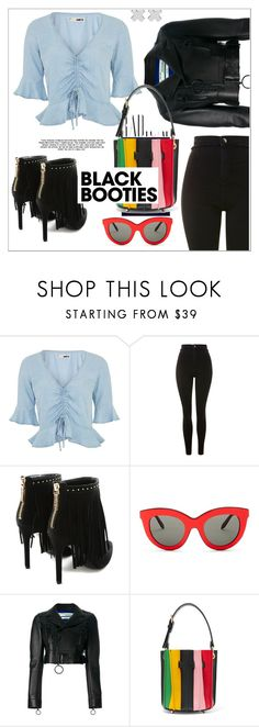 """""""Black Booties"""" by christinacastro830 ❤ liked on Polyvore featuring Topshop, Pierre Balmain, Alima, Victoria Beckham, Off-White, Sara Battaglia and Witchery"""
