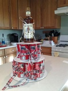 Clever idea for men's birthday cakes. Can use any type of alcohol.  This would be good for my dad's birthday this year but with a bottle of crown.
