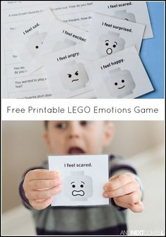 fun LEGO emotions game for kids - free printable game to develop emotional intelligence and teach the concept of inference