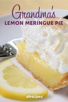 Lemon Dessert Recipes, Baking Recipes, Grandma's Lemon Meringue Pie Recipe, The Best Lemon Pie Recipe, Lemon Curd Pie, Lemon Cream Pies, Just Desserts, Delicious Desserts, Pie Dessert
