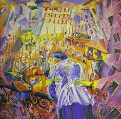 """""""The Street Enters the House"""".  (1911). (by Umberto Boccioni)."""