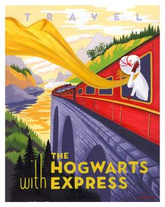 Harry Potter fan art, Travel poster, Hogwart's Express by Caroline Hadilaksono by alexandria Harry Potter Fan Art, Harry Potter Poster, Illustration Art Nouveau, Travel Ads, Travel Agency, Travel Photos, Travel Brochure, Travel Pictures, Vintage Travel Posters
