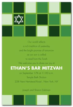 Blocks Mitzvah Green - Bar Mitzvah Invitations by Invitation Consultants. (Item # IC-RLP-283 )