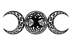 "The ""Triple Goddess"" symbol of the waxing, full and waning moon, representing the aspects of Maiden, Mother, and Crone"