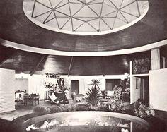 Vista de la estancia, Casa Habitación, Ajusco 51, Col. Tlacopac, México DF 1961  Arqs. Carlos Ortega y Estefanía Chávez de Ortega -  View of the living rom of a house in Tlacopac, Mexico City 1961