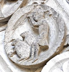 June to December Tasks and Zodiac Signs - Autun Cathedral slaughtering pig