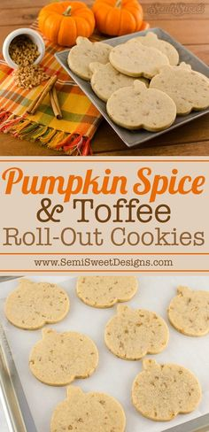 Pumpkin Spice toffee roll-out cookies. Perfect r… Delicious fall flavored cookie! Pumpkin Spice toffee roll-out cookies. Perfect recipe for decorated cookies. Pumpkin Spice Cookie Recipe, Sugar Cookies Recipe, Pumpkin Spice Latte, Pumpkin Recipes, Fall Recipes, Holiday Recipes, Recipe Spice, Sugar Cookie Recipe For Decorating, Fall Cookie Recipes