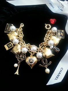 Chanel Button Charm & Pearl Bracelet handcrafted ArmCandyDesignsbyZ on Etsy