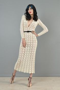 Hand Crocheted 1970s Plunging Neck Midi Dress