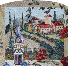 Kitchen Mosaics - Mosaic Art for your Kitchen - Rustic Landscape - Perfect Mosaic Backsplash | Available at Mozaico