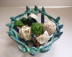 Open work pottery bowl with holes with sea turtle fruit bowl