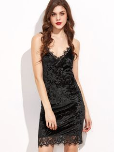 Black Lace Trim Velvet Cami Bodycon Dress
