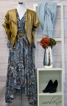 Vintage Kleid von Wiya mit goldener Kunstlederjacke Overall Jumpsuit, Longsleeve, Girls, Wrap Dress, Tops, Vintage, Dresses, Fashion, Sequin Shirt