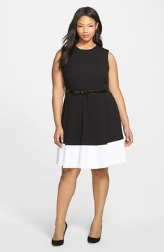 Calvin Klein Belted Colorblock Fit & Flare Dress (Plus Size) available at #Nordstrom