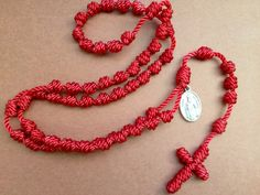 Red Knotted Cord Rosary with St. Nicholas by GeorgieGirlRosaries