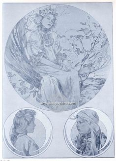 Alphonse Mucha Figures Decoratives Art Gallery, Pictures, Prints