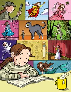 """by Raina Telgemeier, a poster for Scholastic's """"Read Every Day. Lead a Better Life."""" campaign"""